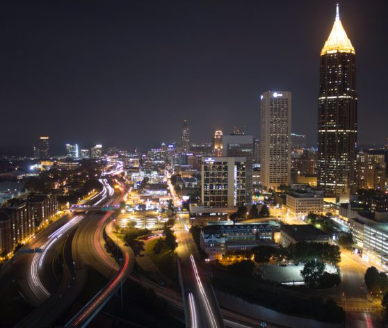 The skyline of Atlanta, Georgia at night