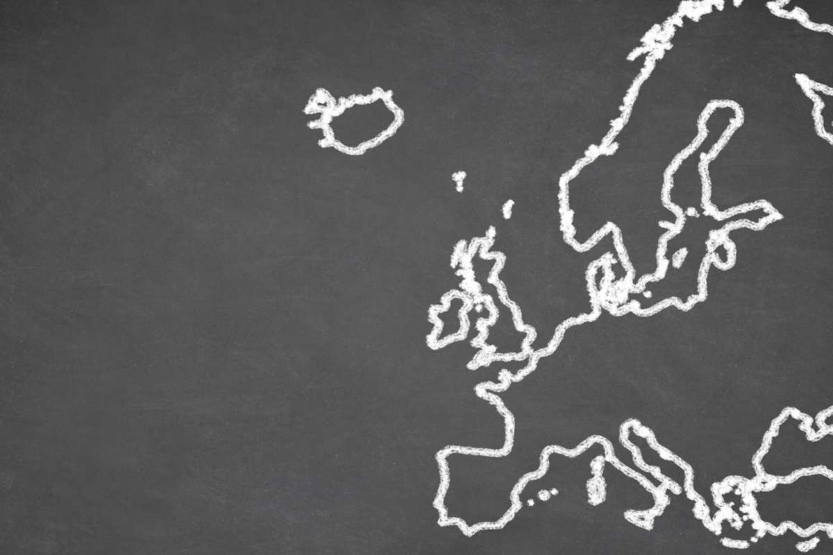 A chalk drawing of Europe