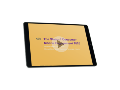 Tablet displaying Sinch's State of Consumer Mobile Engagement 2020 webinar