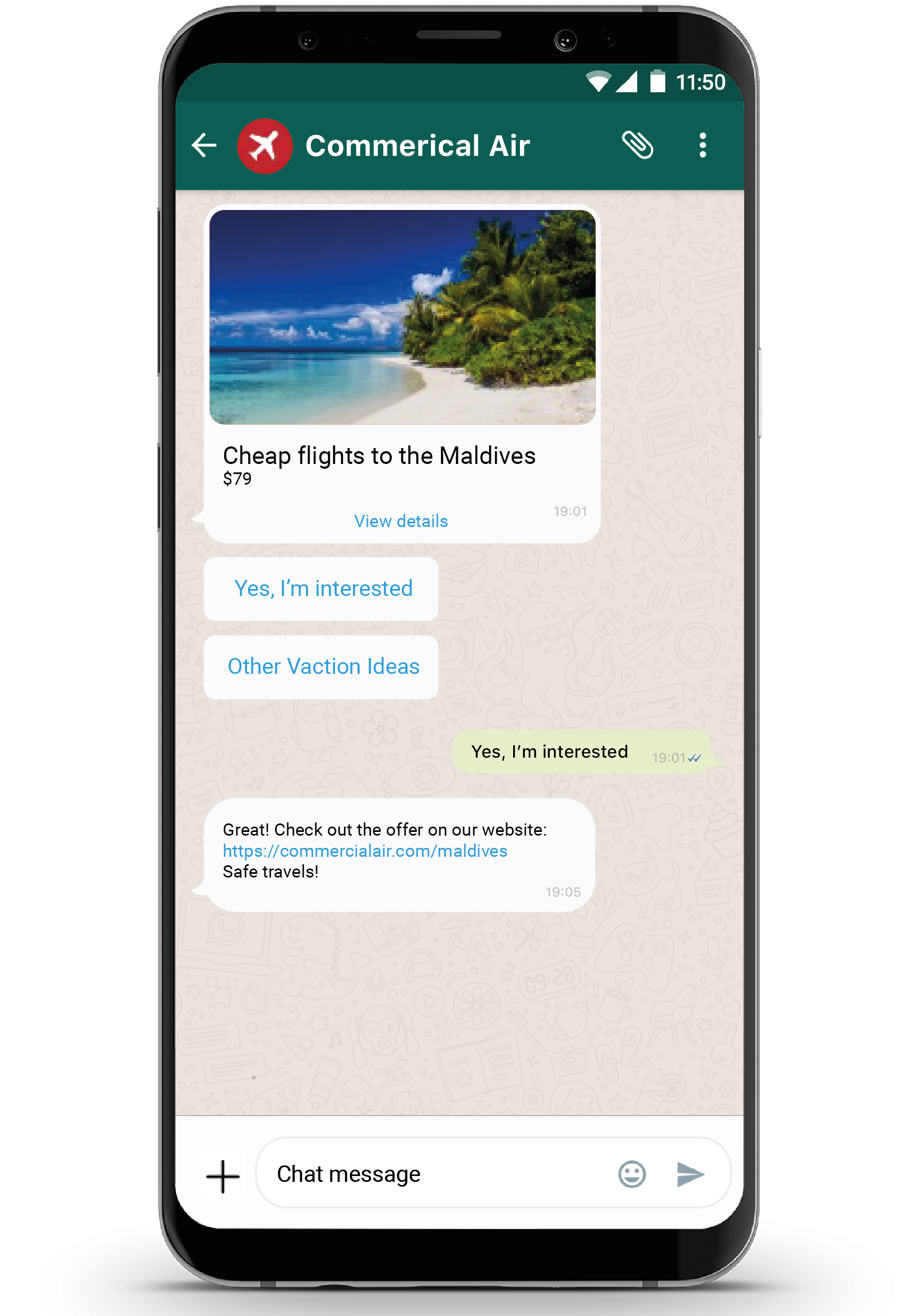 Mobile handset showing WhatsApp business API use case