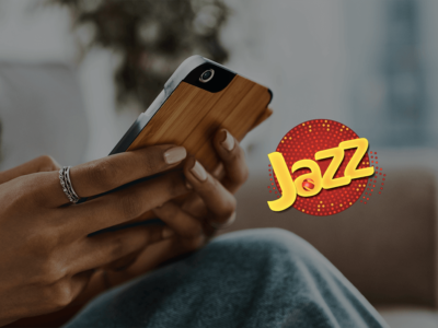 Jazz Logo on Picture of somebody using a phone